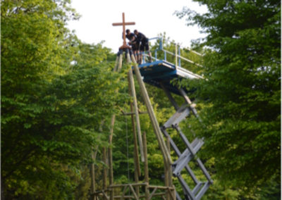 Reconstruction du clocher sur le site de Château-Landon